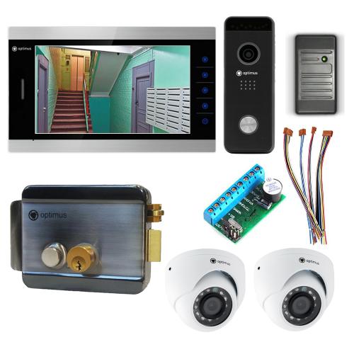 Комплект видеодомофона для дома Premium 10.1˝ TFT - 2.1Мп (электромеханический замок, считыватель, 2*камера)