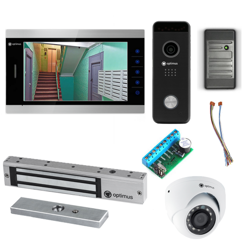 Комплект видеодомофона для офиса Premium 10.1˝ TFT - 2.1Мп (электромагнитный замок, считыватель, камера)