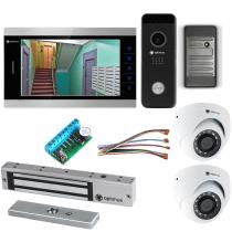 Комплект видеодомофона для дачи Premium 10.1˝ TFT - 2.1Мп (электромагнитный замок, считыватель, 2*камера)