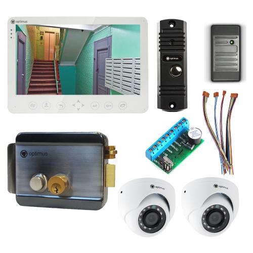 Комплект видеодомофона для дачи Light 10.1˝ TFT - 1Мп (электромеханический замок, считыватель, 2*камера)