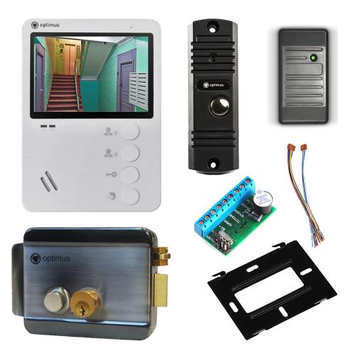 Комплект видеодомофона для дачи Light 4.3˝ TFT - 0.3Мп (электромеханический замок, считыватель)