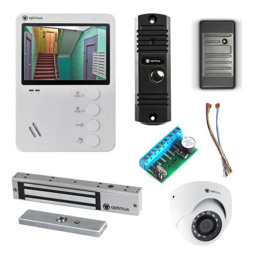 Комплект видеодомофона для дачи Light 4.3˝ TFT - 0.3Мп (электромагнитный замок, считыватель, камера)