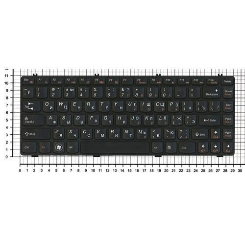 Клавиатура для ноутбука Lenovo Y470 черная рамка черная
