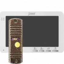 """Комплект видеодомофона с вызывной панелью J2000 7""""-6 (бел/медь)"""
