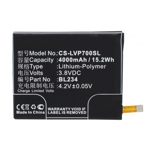 Аккумулятор CS-LVP700SL (BL234) для Lenovo P70, P90 3.8V / 4000mAh / 15.20Wh