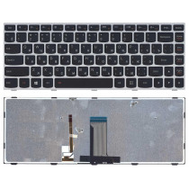 Клавиатура для ноутбука Lenovo Flex 14 G40-30 G40-70 черная с серебристой рамкой с подсветкой