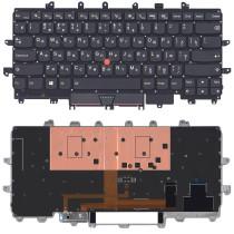 Клавиатура для ноутбука Lenovo ThinkPad X1 Carbon Gen 4 2016 черная без рамки с подсветкой