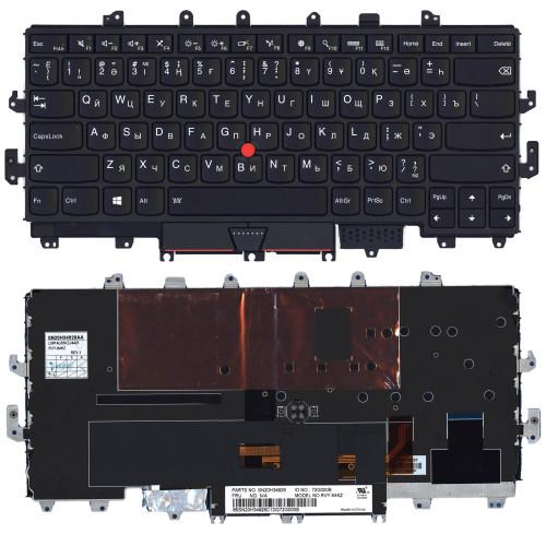 Клавиатура для ноутбука  Lenovo Thinkpad X1 Yoga Gen 1  2016 черная с рамкой и подсветкой
