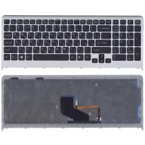 Клавиатура для ноутбука Sony Vaio VPC-F219fc черная с подсветкой с серой рамкой