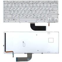 Клавиатура для ноутбука Sony Vaio VPC-SD VPC-SB серебристая c подсветкой